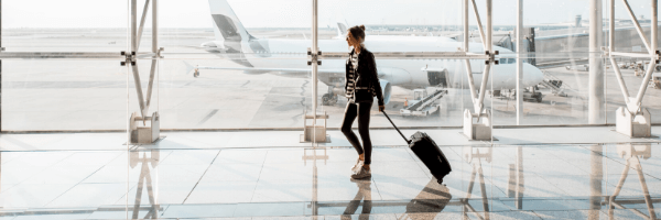 airport, luggage, woman, plane