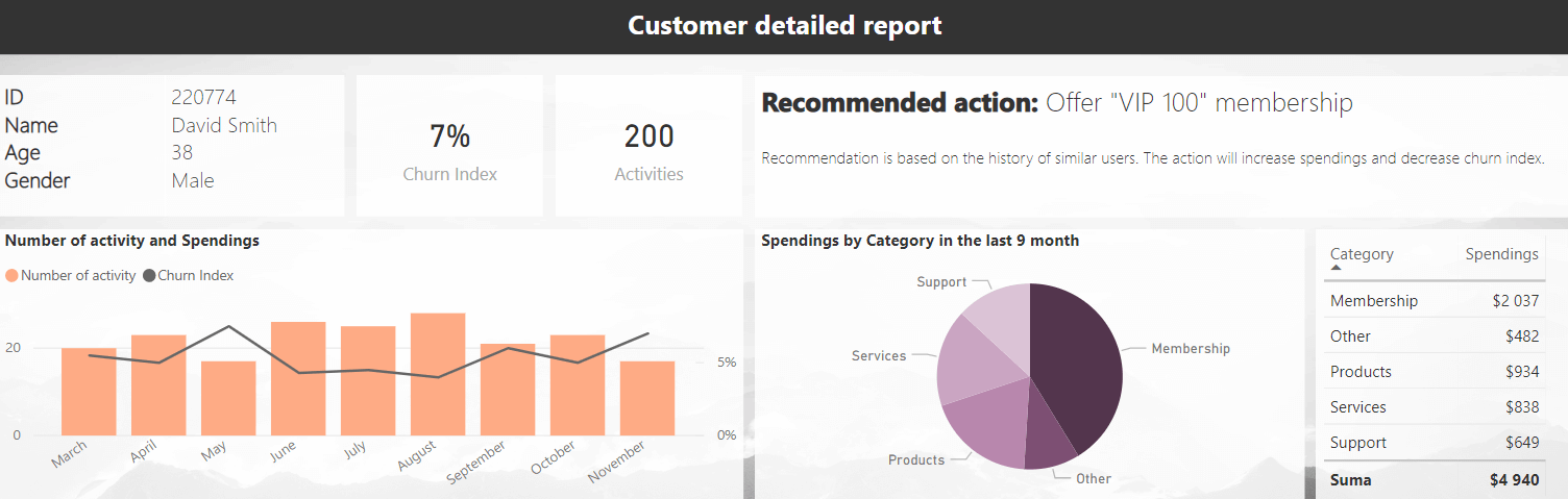 customer detailed report dashboard