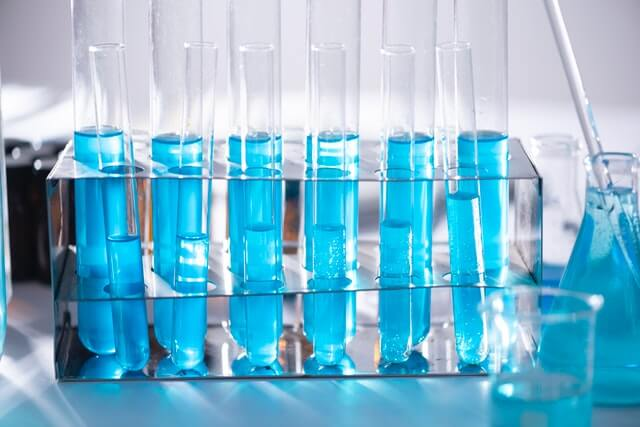 Clinical tests, blue bottles