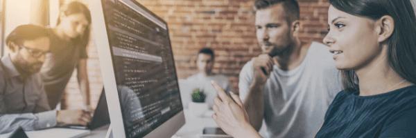 ETL developer working, computer, man, woman, office