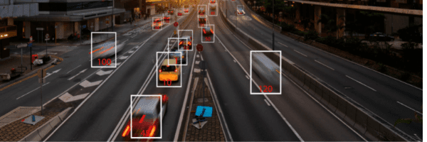 Highway. Scanning the movement and speed of cars with AI image recognition