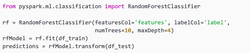 example of creating a Random Forest classifier in apache spark machine learning